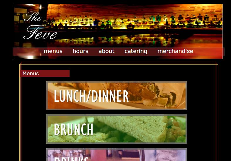 Screenshot of website for a trendy restaurant/bar with many saturated colors on a black background.
