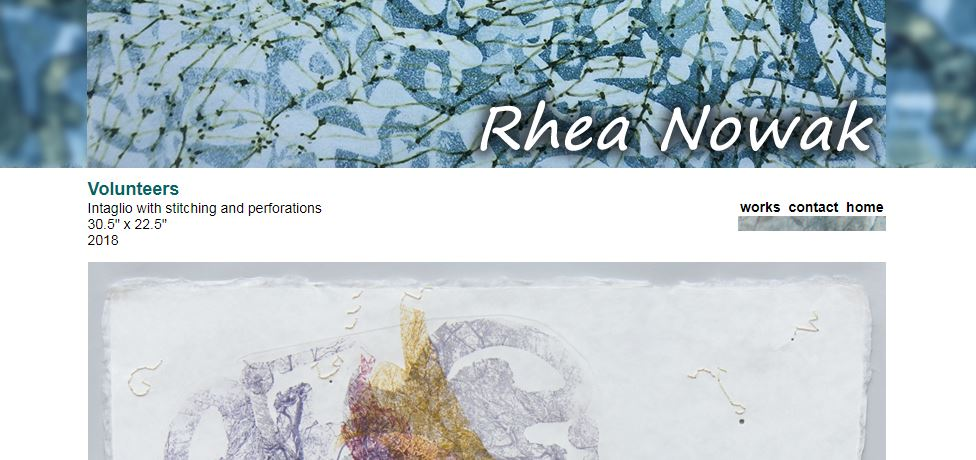 Screenshot of an artist's website featuring an individual work under a patterned banner drawn from a different work by the artist.