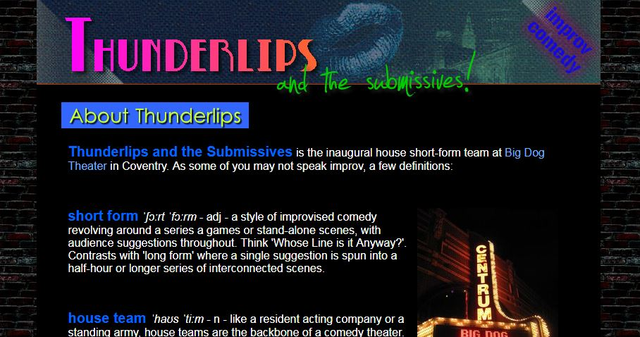 Screenshot of colorful website for an improv comedy group.