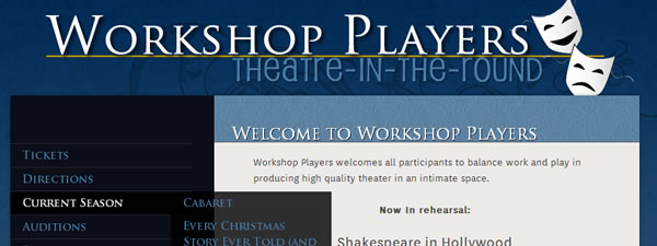 Screenshot of website for a theater group with left hand menu and comedy and tragedy masks in logo.